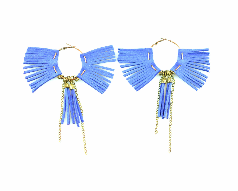 Argollas bronce blecos fieltro cadena cabuchon criolla azul scaled