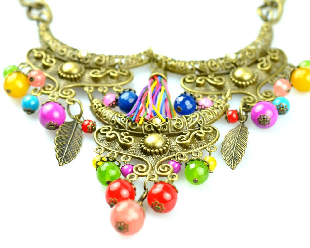 Collar handmade triple zyryan dorado viejo color metal cadena detalle 2