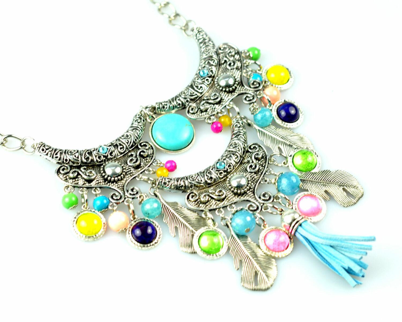 Collar handmade triple zyryan plateado color turquesa metal cadena frontal diagonal scaled