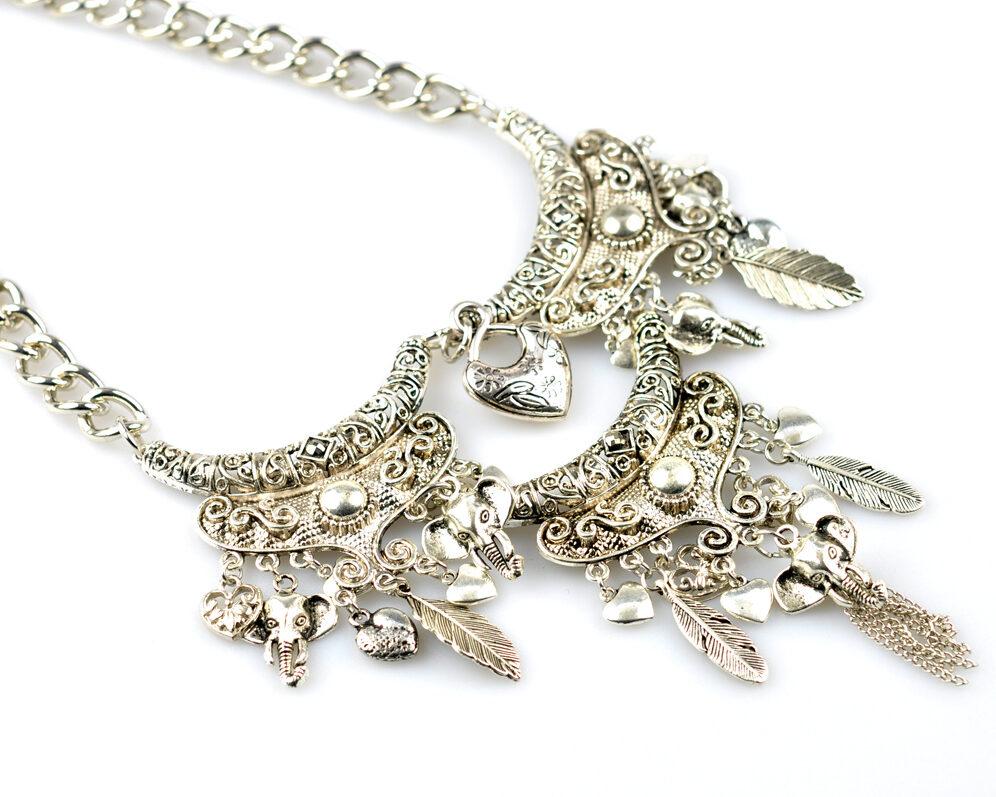 Collar handmade triple zyryan plateado metal cadena diagonal