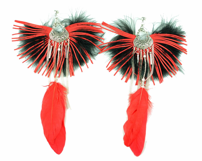 Maxi argolla rojo negro flecos plumas color cadena filigrana metal plateado scaled