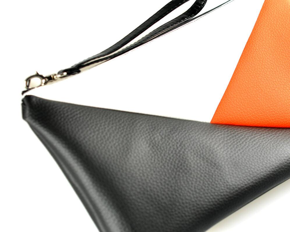 bolso clutch handmade artesano geométrico negro naranja blanco polipiel 4