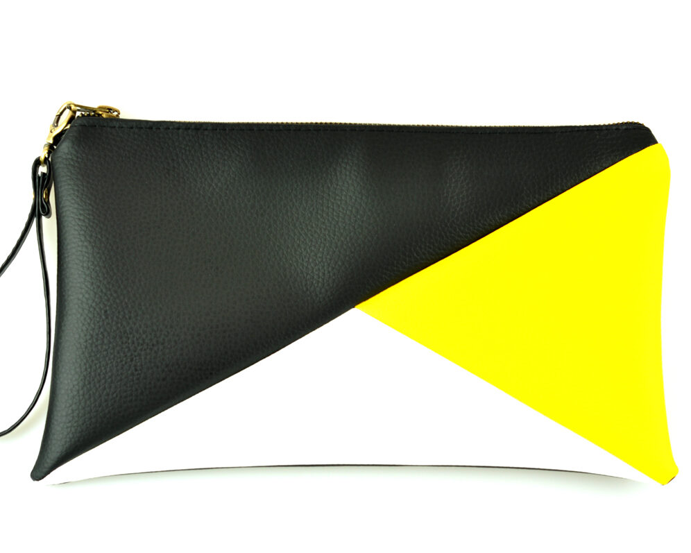 bolso clutch handmade artesano geometrico tangram negro amarillo blanco polipiel frontal asa 1