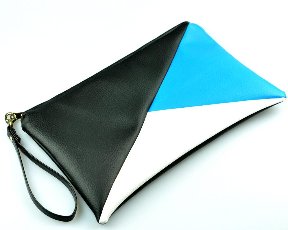 bolso clutch handmade artesano geometrico tangram negro azul blanco polipiel lateral
