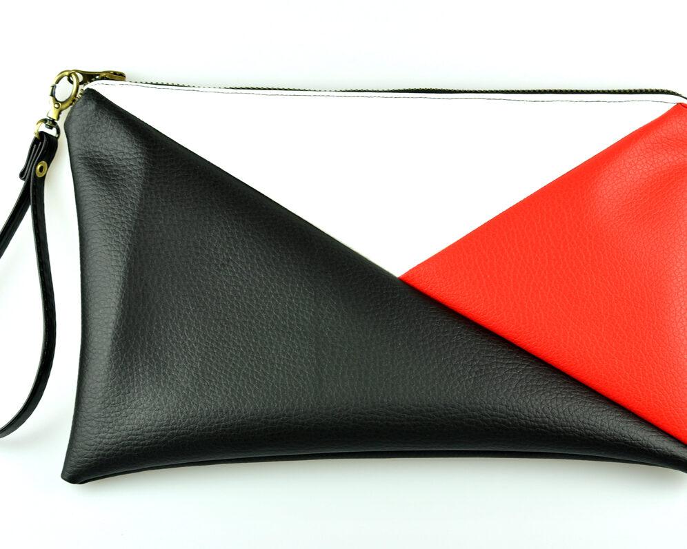 bolso clutch handmade artesano geometrico tangram negro rojo blanco polipiel frontal asa