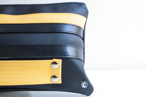 clutch amarillo negro tira piel sintetica asa bolsillo cuero art 3