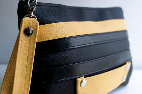 clutch amarillo negro tira piel sintetica asa bolsillo cuero art 5