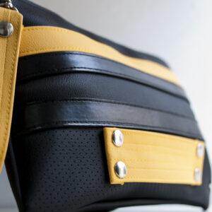 clutch amarillo negro tira piel sintetica asa bolsillo cuero art 6