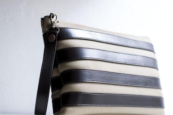 clutch beige marron unisex piel  sintetica tiras cuero asa cremallera bolsillo art 3