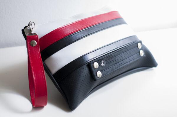 clutch blanco rojo negro tira piel sintetica asa bolsillo cuero art 1