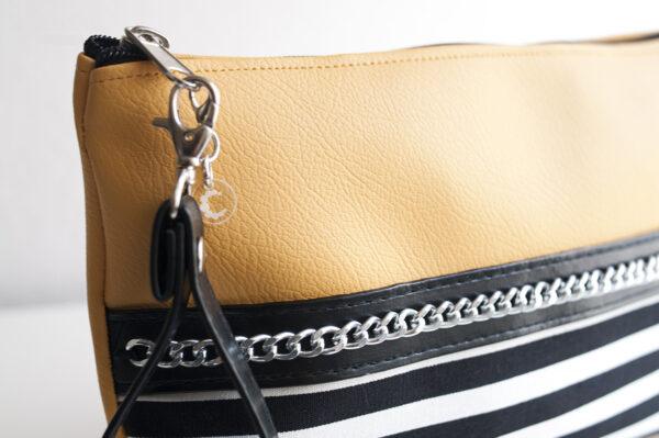 clutch mostaza rayas blanco negro piel sintetica cadena plata asa mujer 04