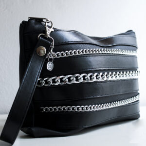 clutch negro piel tiras sintetico cadena plata bolsillo tela unisex 3