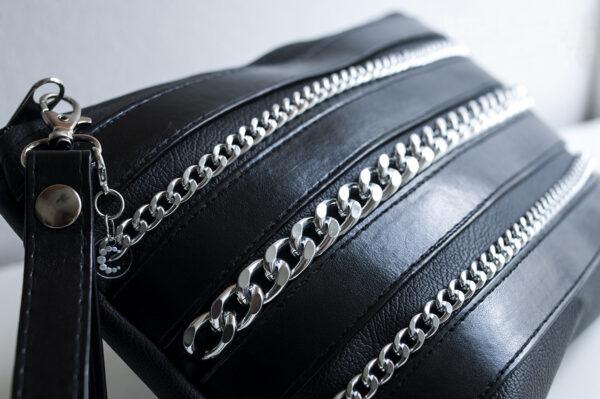 clutch negro piel tiras sintetico cadena plata bolsillo tela unisex 5