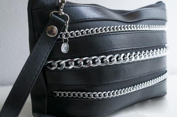 clutch negro piel tiras sintetico cadena plata bolsillo tela unisex 7