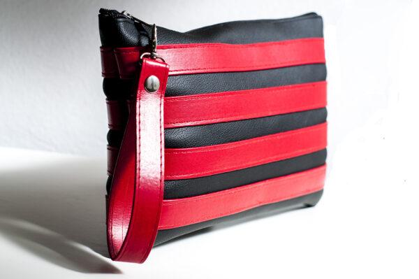 clutch negro rojo unisex piel  sintetica tiras cuero asa cremallera bolsillo art 1