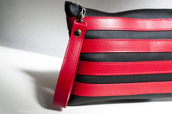 clutch negro rojo unisex piel  sintetica tiras cuero asa cremallera bolsillo art 3