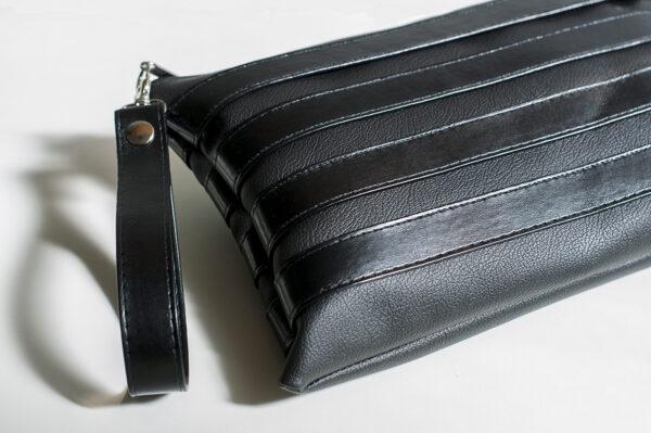 clutch negro unisex piel  sintetica tiras cuero asa cremallera bolsillo art 1