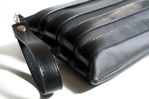 clutch negro unisex piel  sintetica tiras cuero asa cremallera bolsillo art 2
