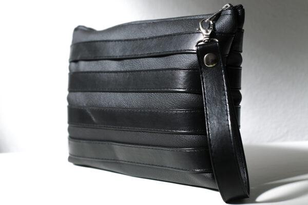 clutch negro unisex piel  sintetica tiras cuero asa cremallera bolsillo art 3