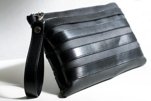 clutch negro unisex piel  sintetica tiras cuero asa cremallera bolsillo art 4 1
