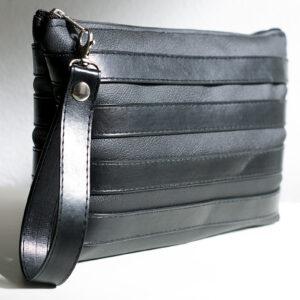 clutch negro unisex piel  sintetica tiras cuero asa cremallera bolsillo art 5