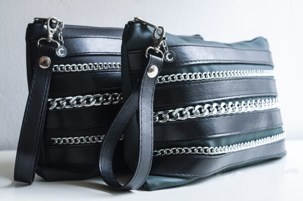 clutch verde negro piel tiras sintetico cadena plata bolsillo tela unisex 16