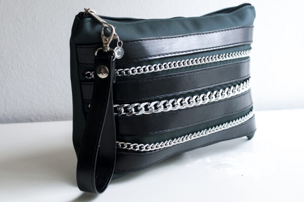 clutch verde negro piel tiras sintetico cadena plata bolsillo tela unisex 3.pg