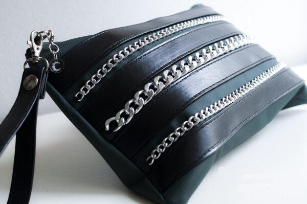 clutch verde negro piel tiras sintetico cadena plata bolsillo tela unisex 6