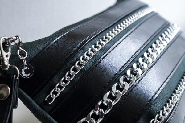 clutch verde negro piel tiras sintetico cadena plata bolsillo tela unisex 7