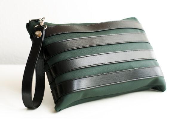 clutch verde negro unisex piel  sintetica tiras cuero asa cremallera bolsillo art 4