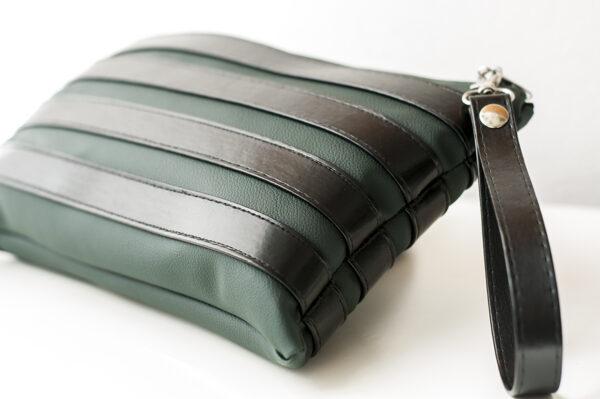 clutch verde negro unisex piel  sintetica tiras cuero asa cremallera bolsillo art 6