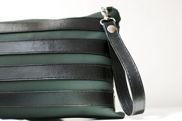 clutch verde negro unisex piel  sintetica tiras cuero asa cremallera bolsillo art 7