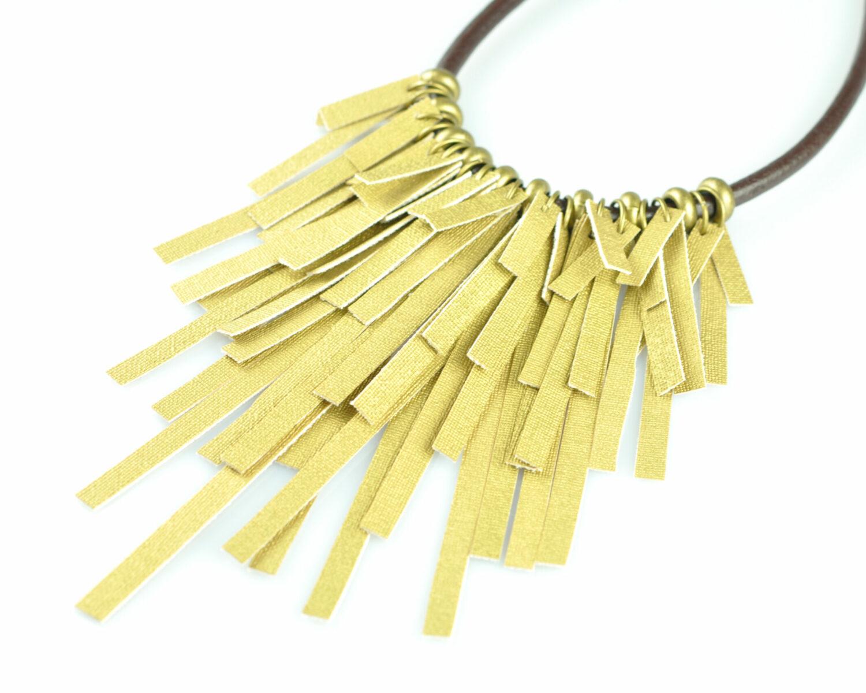 collar handmade polipiel tiras dorado metal oro viejo cordon cuero marron izquierda scaled