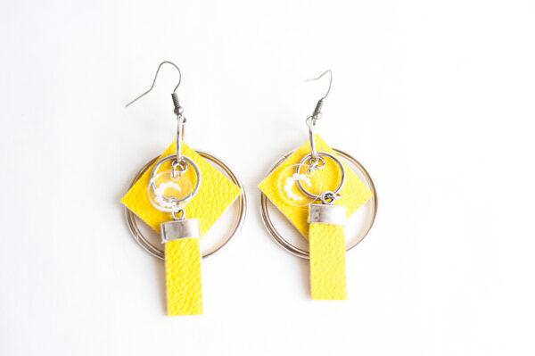 pendiente gancho plata piel amarillo metal argolla cuadrado tira 02