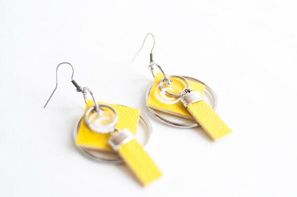 pendiente gancho plata piel amarillo metal argolla cuadrado tira 03