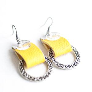 pendiente gancho plata piel amarillo metal argolla labrada 03