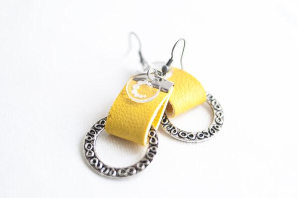 pendiente gancho plata piel amarillo metal argolla labrada 04