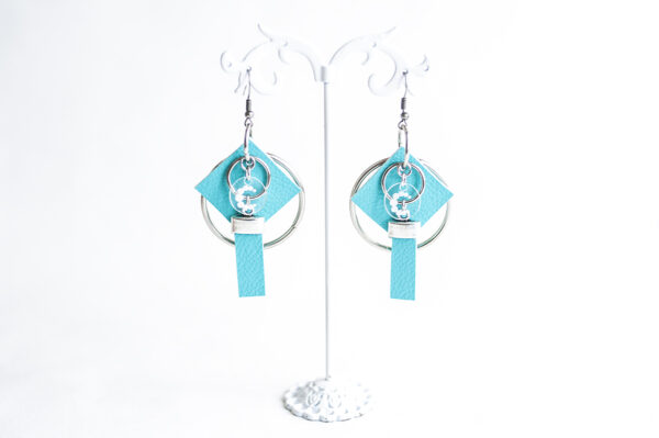 pendiente gancho plata piel azul turquesa metal argolla cuadrado tira 00