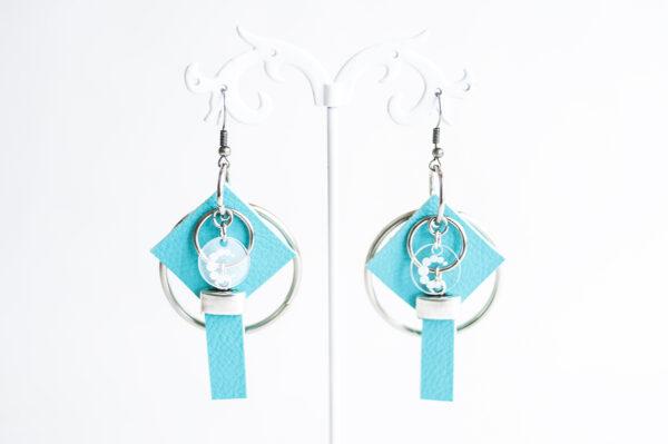 pendiente gancho plata piel azul turquesa metal argolla cuadrado tira 01