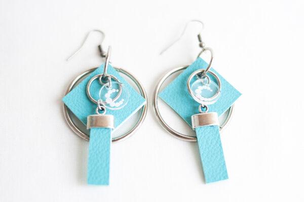 pendiente gancho plata piel azul turquesa metal argolla cuadrado tira 02