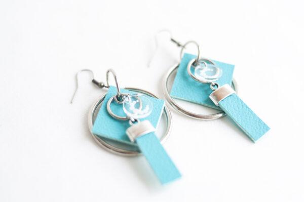 pendiente gancho plata piel azul turquesa metal argolla cuadrado tira 03