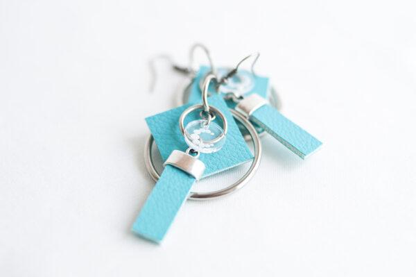 pendiente gancho plata piel azul turquesa metal argolla cuadrado tira 04