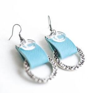 pendiente gancho plata piel azul turquesa metal argolla labrada 03