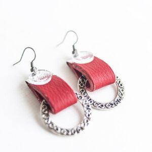 pendiente gancho plata piel rojo metal argolla labrada 03