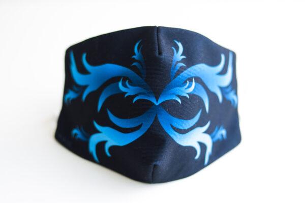cubre mascarilla negro repujado azul 00