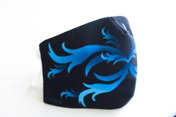 cubre mascarilla negro repujado azul 01