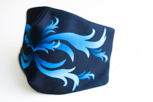 cubre mascarilla negro repujado azul 02