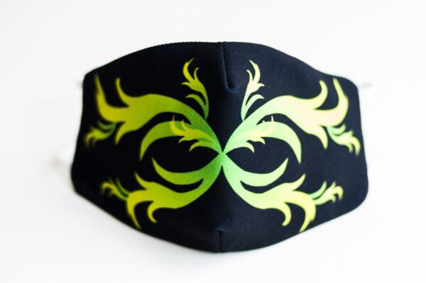 cubre mascarilla negro repujado verde 00