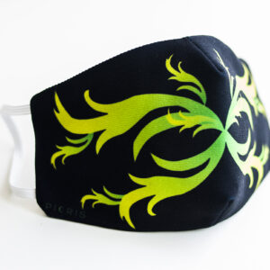 cubre mascarilla negro repujado verde 01