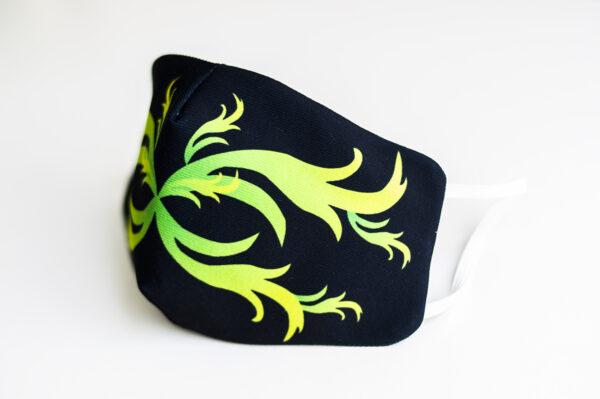 cubre mascarilla negro repujado verde 02